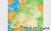 Physical 3D Map of Baden-Württemberg, political outside