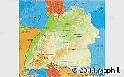 Physical 3D Map of Baden-Württemberg, political shades outside