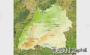Physical 3D Map of Baden-Württemberg, satellite outside