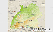 Physical 3D Map of Baden-Württemberg, shaded relief outside