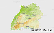 Physical 3D Map of Baden-Württemberg, single color outside