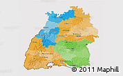Political 3D Map of Baden-Württemberg, cropped outside