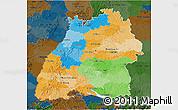 Political 3D Map of Baden-Württemberg, darken
