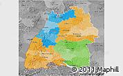 Political 3D Map of Baden-Württemberg, desaturated