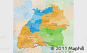 Political 3D Map of Baden-Württemberg, lighten