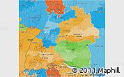 Political 3D Map of Baden-Württemberg, political shades outside