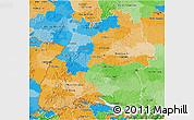 Political 3D Map of Baden-Württemberg