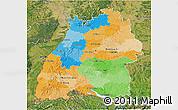 Political 3D Map of Baden-Württemberg, satellite outside
