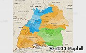 Political 3D Map of Baden-Württemberg, shaded relief outside