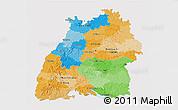 Political 3D Map of Baden-Württemberg, single color outside