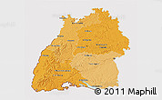 Political Shades 3D Map of Baden-Württemberg, cropped outside