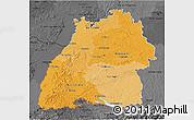 Political Shades 3D Map of Baden-Württemberg, darken, desaturated