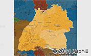 Political Shades 3D Map of Baden-Württemberg, darken