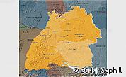 Political Shades 3D Map of Baden-Württemberg, darken, semi-desaturated