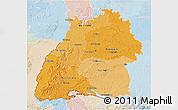 Political Shades 3D Map of Baden-Württemberg, lighten