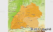 Political Shades 3D Map of Baden-Württemberg, physical outside