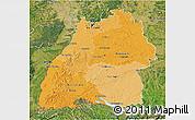 Political Shades 3D Map of Baden-Württemberg, satellite outside