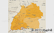Political Shades 3D Map of Baden-Württemberg, shaded relief outside
