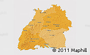 Political Shades 3D Map of Baden-Württemberg, single color outside