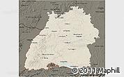 Shaded Relief 3D Map of Baden-Württemberg, darken