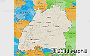 Shaded Relief 3D Map of Baden-Württemberg, political outside