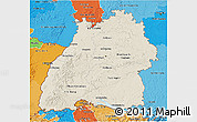 Shaded Relief 3D Map of Baden-Württemberg, political shades outside