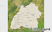 Shaded Relief 3D Map of Baden-Württemberg, satellite outside