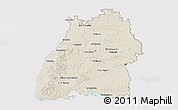 Shaded Relief 3D Map of Baden-Württemberg, single color outside
