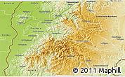 Physical 3D Map of Breisgau-Hochschwarzwald