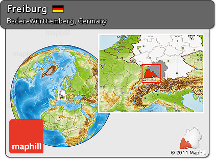 Free Physical Location Map of Freiburg highlighted country