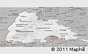 Gray Panoramic Map of Freiburg