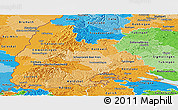 Political Shades Panoramic Map of Freiburg