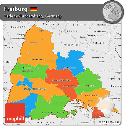Free Political Simple Map of Freiburg single color outside borders