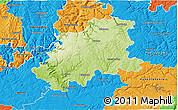 Physical 3D Map of Neckar-Odenwald-Kreis, political outside