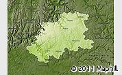 Physical Map of Neckar-Odenwald-Kreis, darken