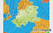Physical Map of Neckar-Odenwald-Kreis, political outside