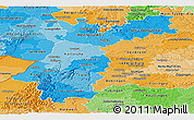 Political Shades Panoramic Map of Karlsruhe