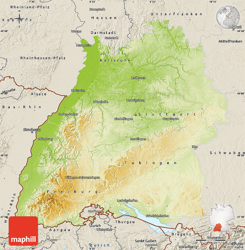 Physical Map of BadenWrttemberg shaded relief outside