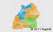 Political Map of Baden-Württemberg, cropped outside