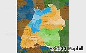 Political Map of Baden-Württemberg, darken