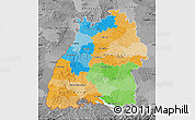 Political Map of Baden-Württemberg, desaturated