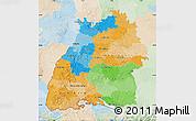 Political Map of Baden-Württemberg, lighten