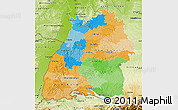 Political Map of Baden-Württemberg, physical outside