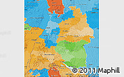 Political Map of Baden-Württemberg, political shades outside