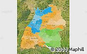 Political Map of Baden-Württemberg, satellite outside