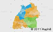 Political Map of Baden-Württemberg, single color outside