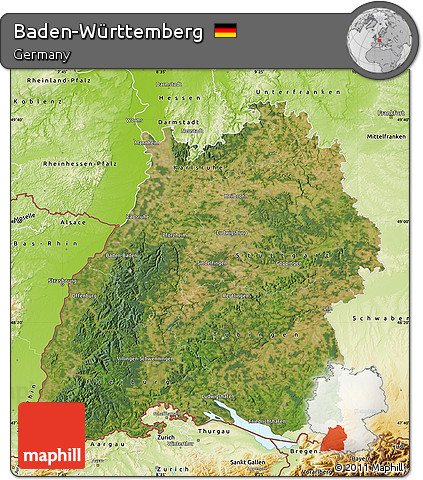 Free Satellite Map of BadenWrttemberg physical outside