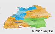 Political Panoramic Map of Baden-Württemberg, cropped outside