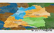 Political Panoramic Map of Baden-Württemberg, darken