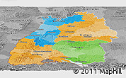Political Panoramic Map of Baden-Württemberg, desaturated